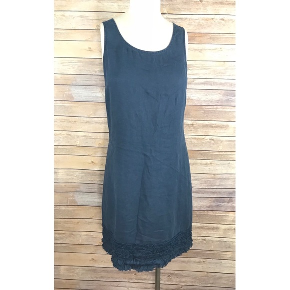 3fe4e4edff7 Tommy Bahama Navy Blue 100% Linen shift dress